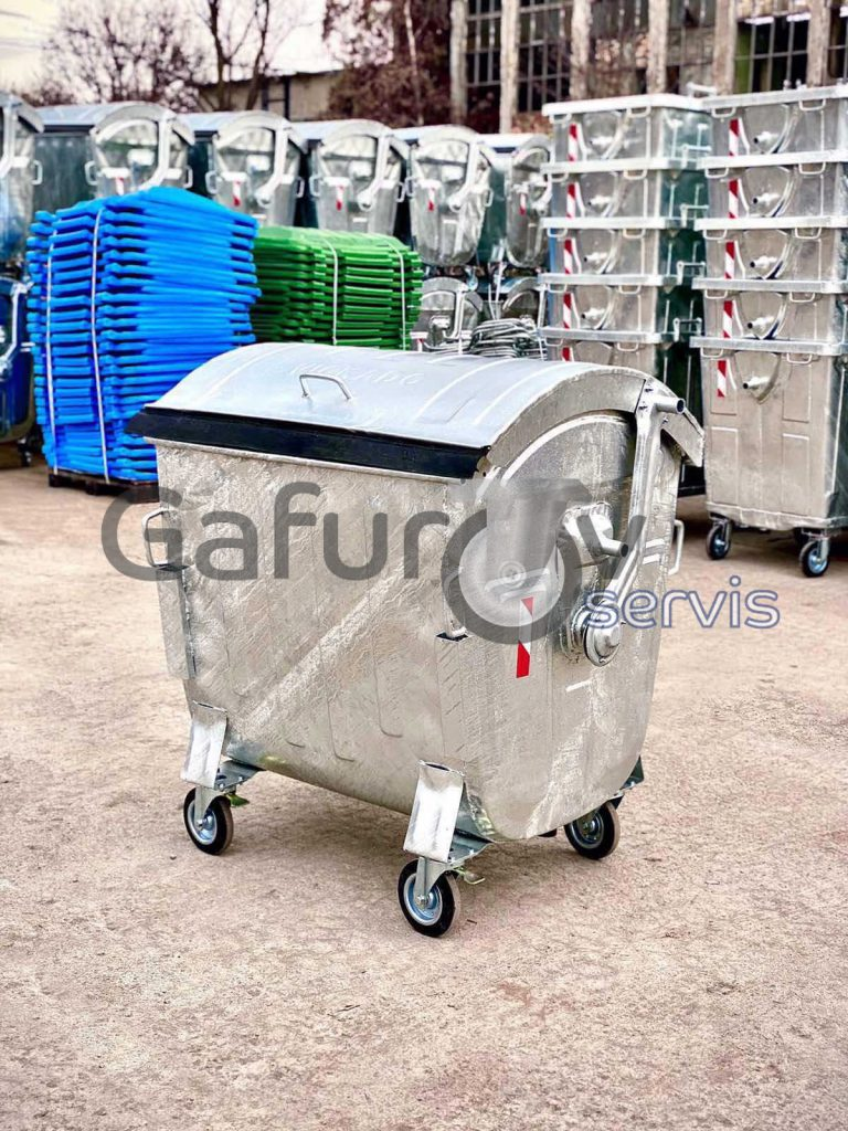 Metal garbage container with round lid 1100 liters hot deep galvanized