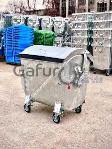 Hot deep galvanized metal garbage bin with metal round lid 1100 liters