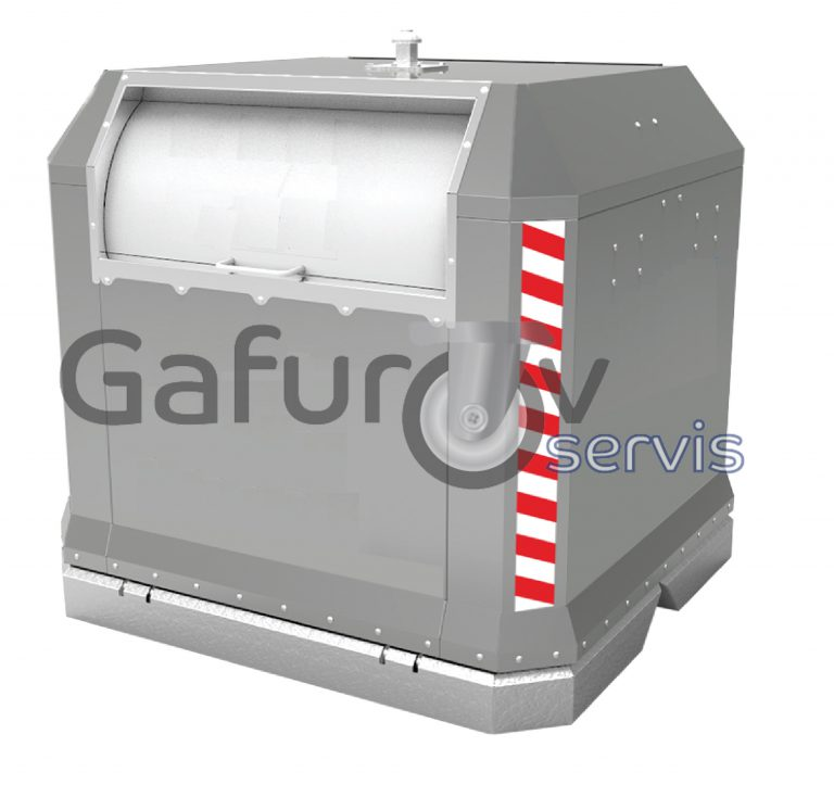 Overground metal garbage container with drum and hinged lid