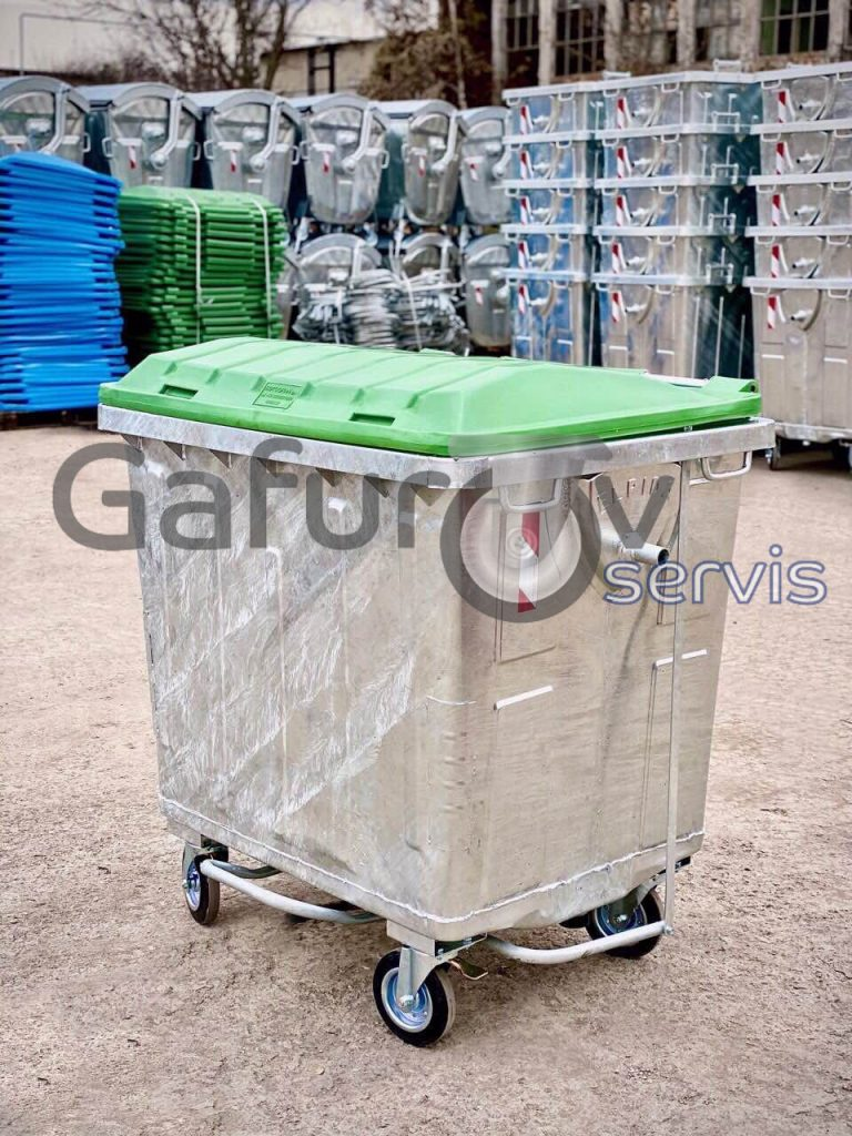 Metal garbage container with flat lid 1100 liters hot deep galvanized