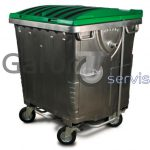 Metal garbage container with flat lid 1100 liters