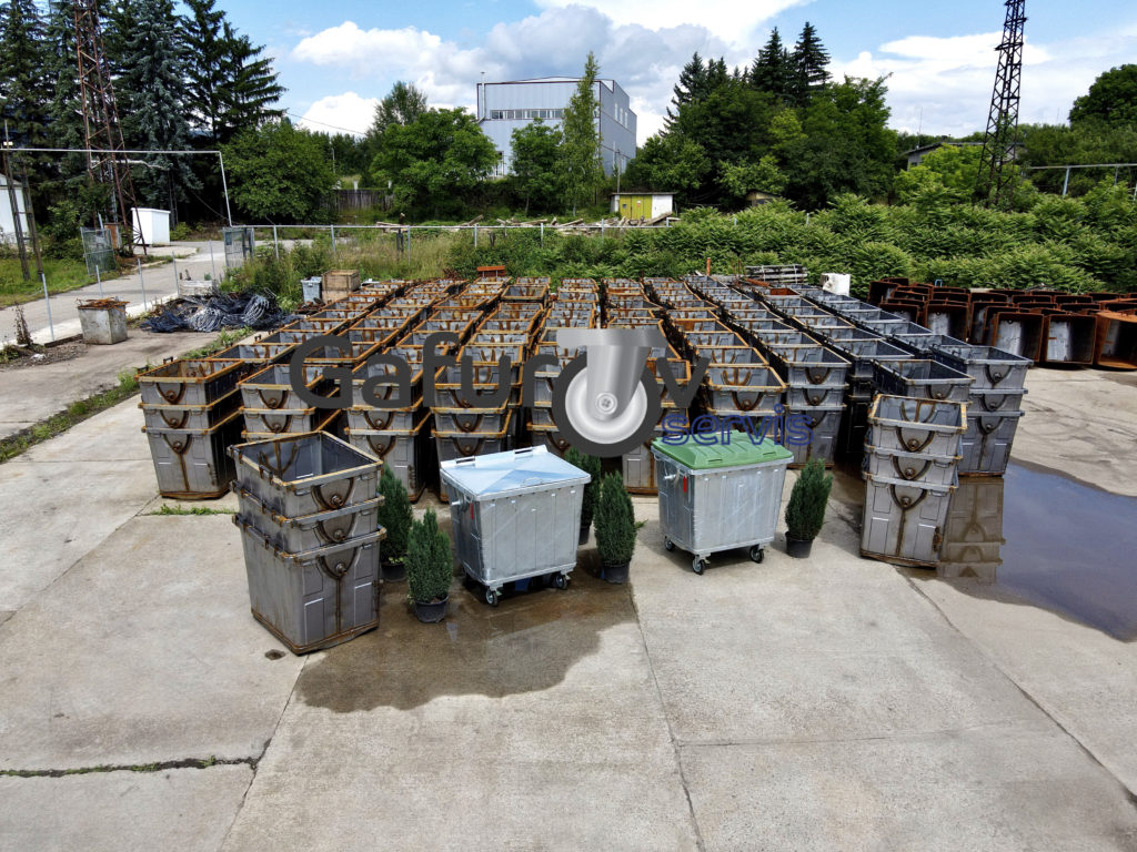 Metal garbage containers 1100 liters with metal and HDPE flat lid