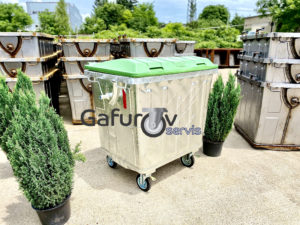 Garbage container 1100 liters with flat lid
